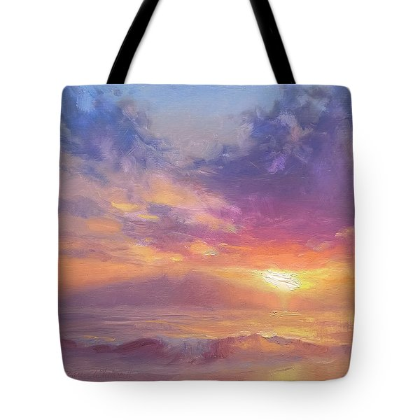 Maui To Molokai Hawaiian Sunset Beach And Ocean Impressionistic Landscape Tote Bag by Karen Whitworth