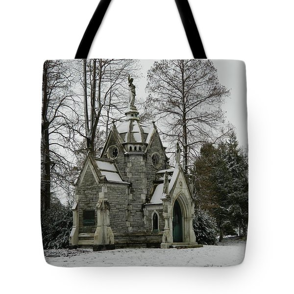 Tote Bag featuring the photograph Mausoleum In Winter by Kathy Barney