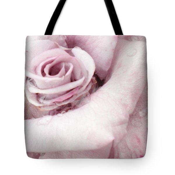 Mauve Rose In The Rain Tote Bag