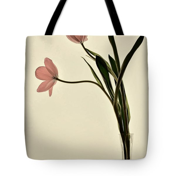 Mauve Tulips In Glass Vase Tote Bag
