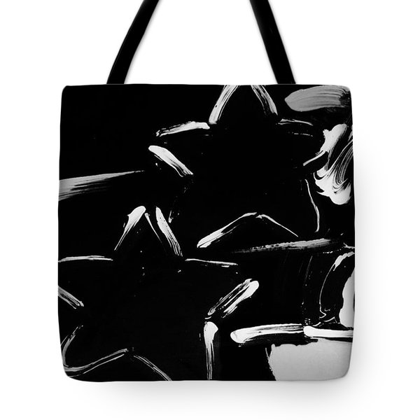 Max Two Stars In Black And White Tote Bag by Rob Hans