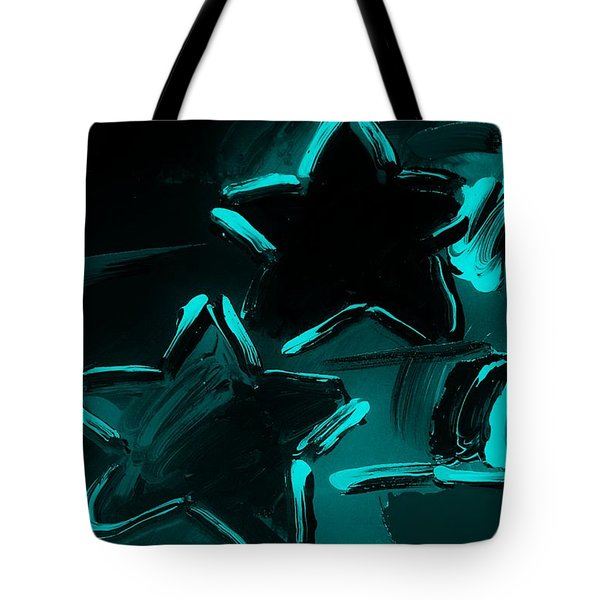 Max Two Stars In Turquois Tote Bag by Rob Hans