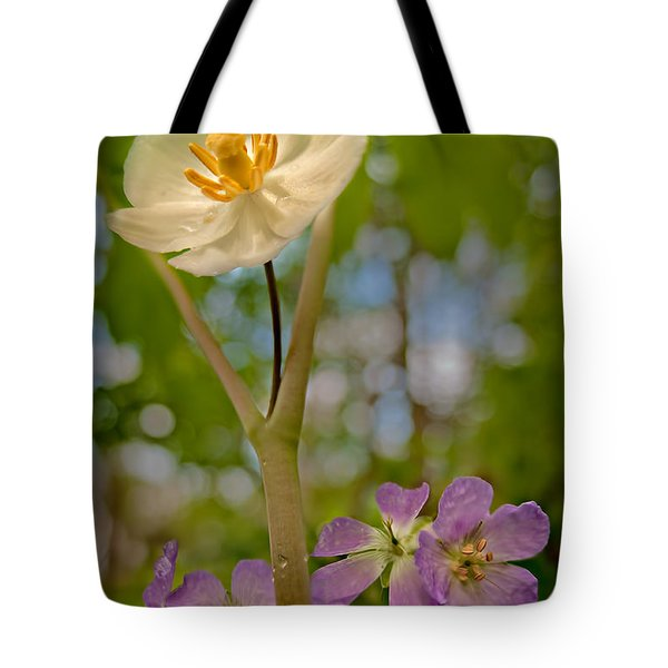 May Apples And Wild Geraniums Tote Bag