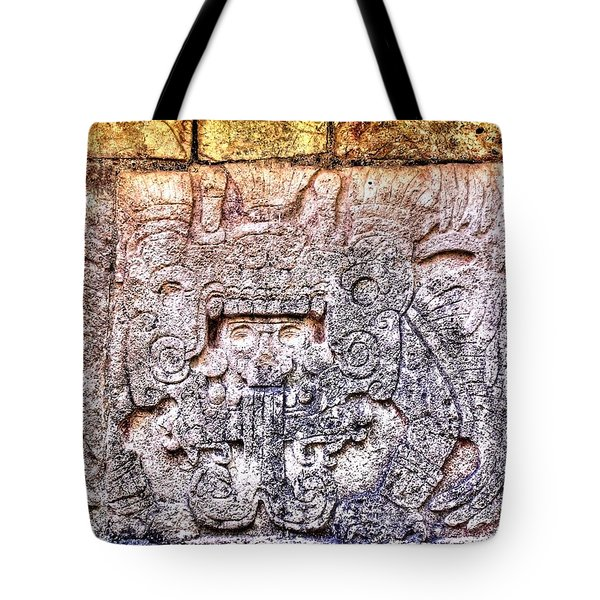 Mayan Hieroglyphic Carving Tote Bag by Paul Williams