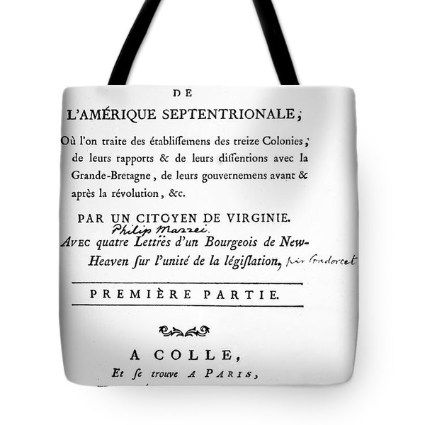 Mazzei Title Page 1788 Tote Bag by Granger