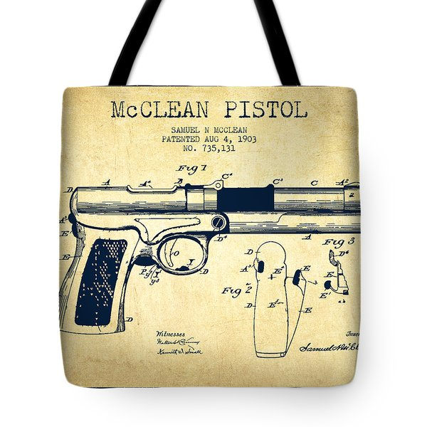 Mcclean Pistol Drawing From 1903 - Vintage Tote Bag