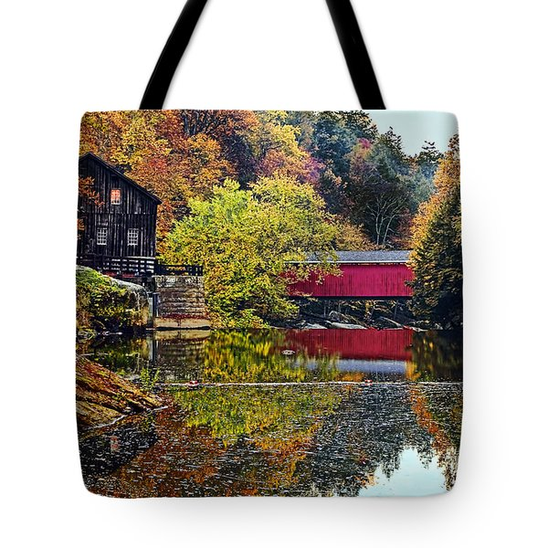 Mcconnell's Mill And Covered Bridge Tote Bag by Marcia Colelli