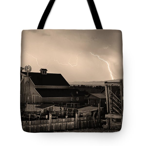 Mcintosh Farm Lightning Sepia Thunderstorm Tote Bag by James BO  Insogna