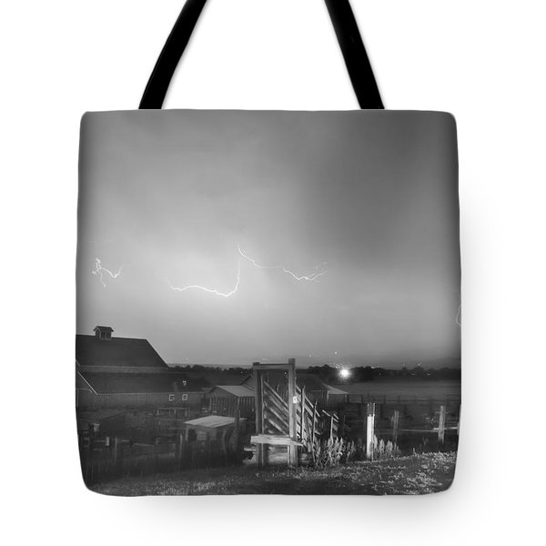 Mcintosh Farm Lightning Thunderstorm View Bw Tote Bag by James BO  Insogna