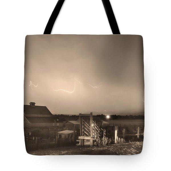 Mcintosh Farm Lightning Thunderstorm View Sepia Tote Bag by James BO  Insogna
