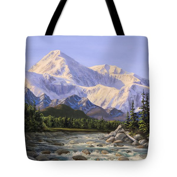 Majestic Denali Mountain Landscape - Alaska Painting - Mountains And River - Wilderness Decor Tote Bag
