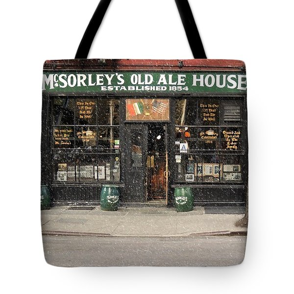Mcsorley's Old Ale House During A Snow Storm Tote Bag