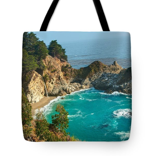 Mcway Falls Along The Big Sur Coast. Tote Bag by Jamie Pham