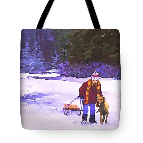 Tote Bag featuring the painting Me And My Buddy by Sophia Schmierer