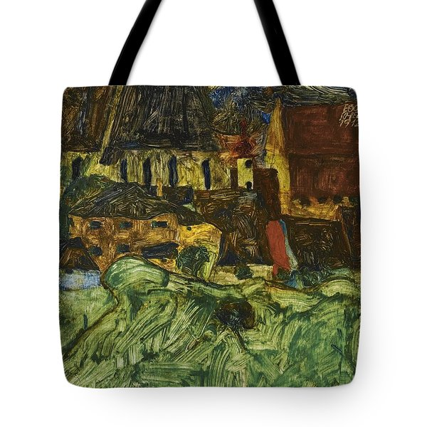 Meadow Church And Houses Tote Bag