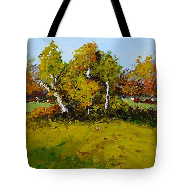 Tote Bag featuring the painting Meadow In Autumn by Fred Wilson