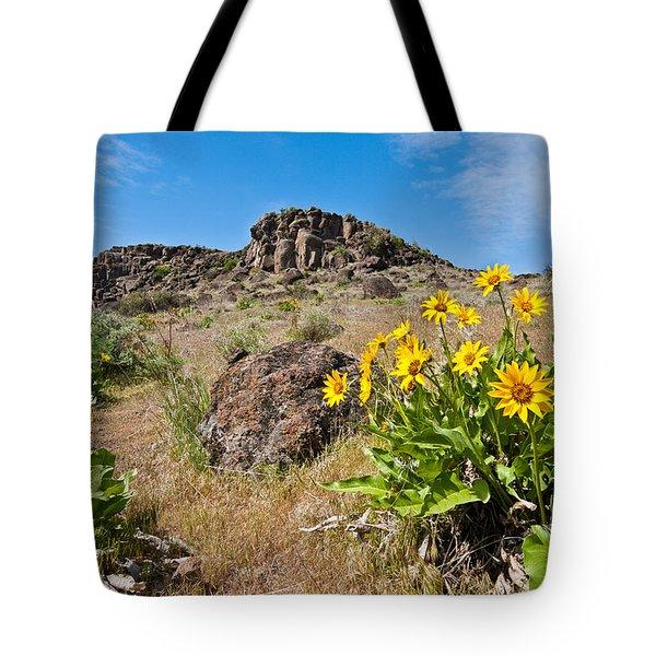 Meadow Of Arrowleaf Balsamroot Tote Bag by Jeff Goulden