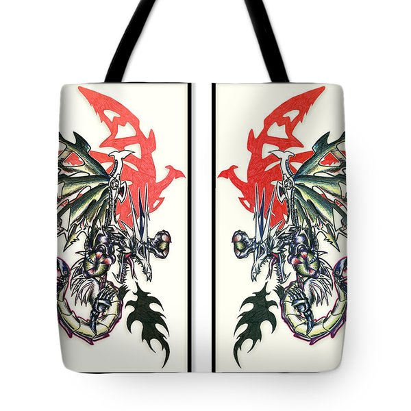 Mech Dragons Collide Tote Bag