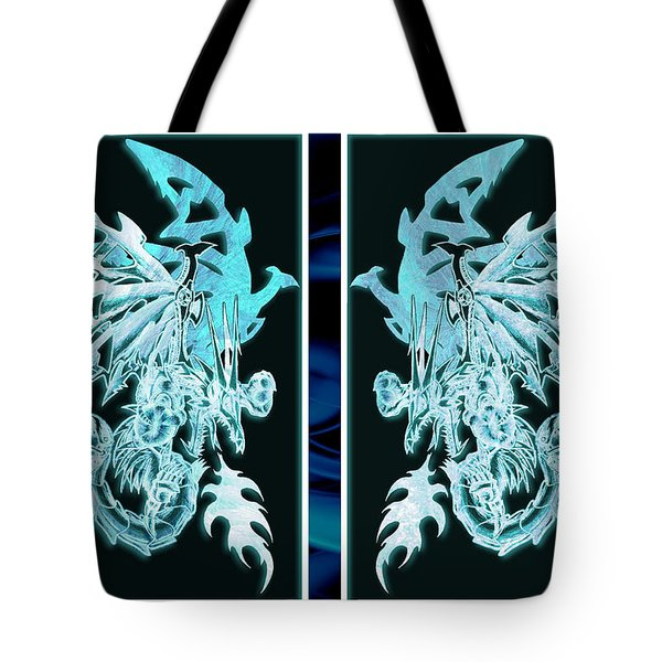 Mech Dragons Diamond Ice Crystals Tote Bag
