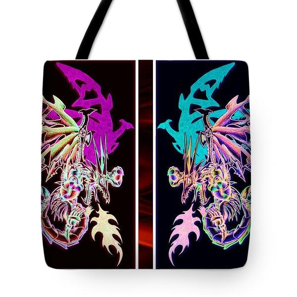 Mech Dragons Pastel Tote Bag
