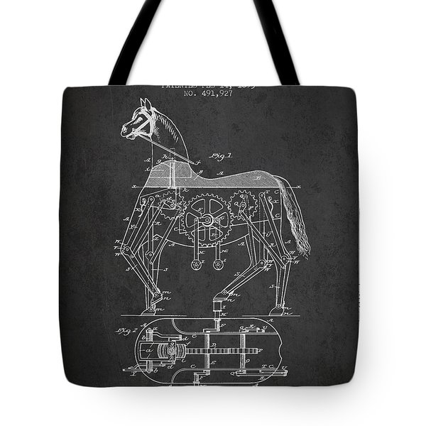Mechanical Horse Patent Drawing From 1893 - Dark Tote Bag by Aged Pixel