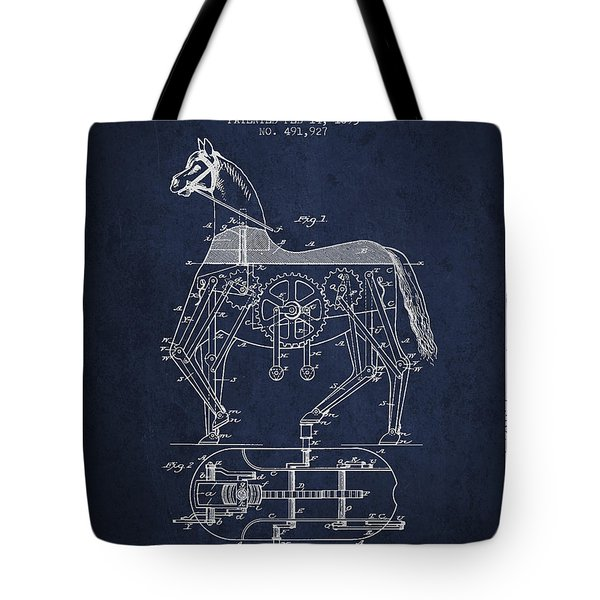 Mechanical Horse Patent Drawing From 1893 - Navy Blue Tote Bag by Aged Pixel
