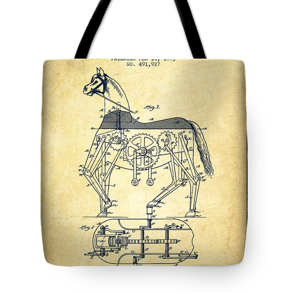 Mechanical Horse Patent Drawing From 1893 - Vintage Tote Bag by Aged Pixel