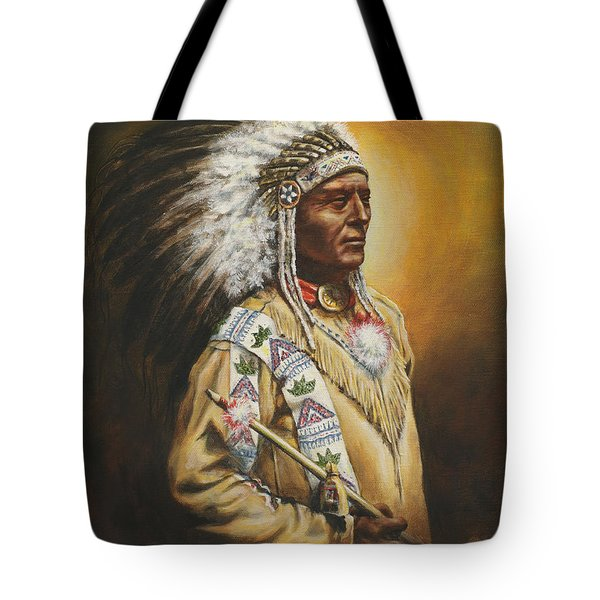 Tote Bag featuring the painting Medicine Chief by Kim Lockman