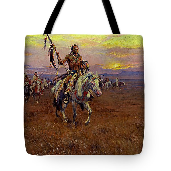 Tote Bag featuring the painting Medicine Man by Charles Marion Russell