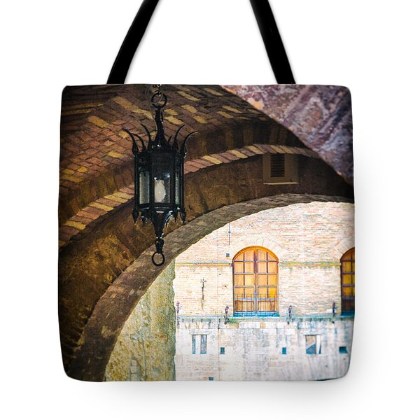 Tote Bag featuring the photograph Medieval Arches With Lamp by Silvia Ganora