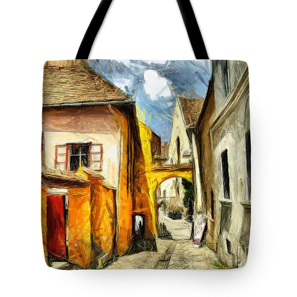 Medieval Street In Sighisoara Transylvania Romania - Painting Tote Bag