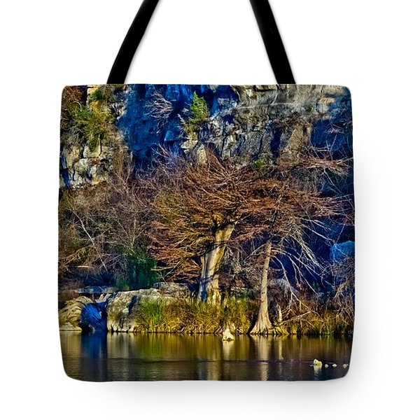 Medina River At Comanche Cliffs Tote Bag