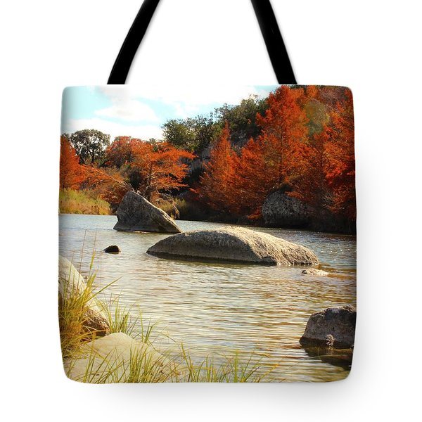Fall Cypress At Bandera Falls On The Medina River Tote Bag