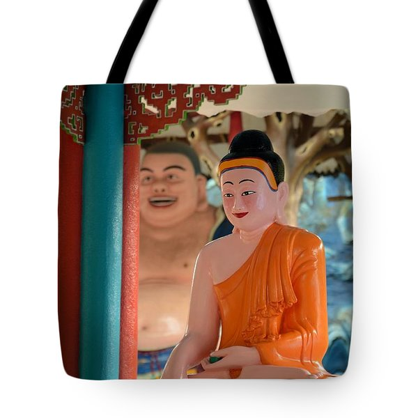 Meditating Buddha In Lotus Position Tote Bag by Imran Ahmed
