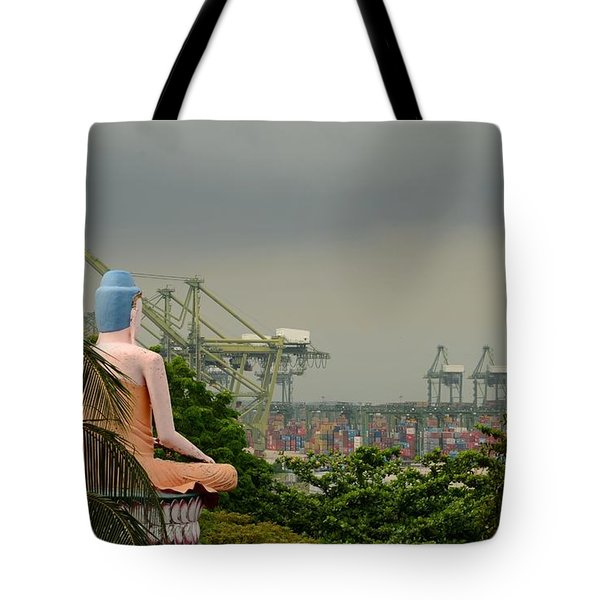 Tote Bag featuring the photograph Meditating Buddha Views Container Seaport Singapore by Imran Ahmed