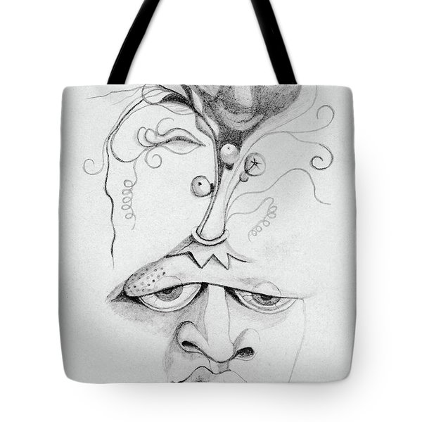 Meditation On The Crown Chakra Or Where Is Your Mind Going Surrealistic Fantasy Of Face With Energy  Tote Bag by Rachel Hershkovitz