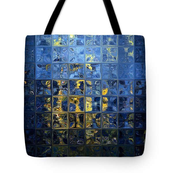 Mediterranean Blue. Modern Mosaic Tile Art Painting Tote Bag by Mark Lawrence