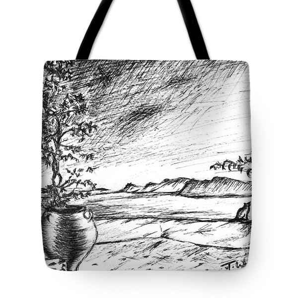 Tote Bag featuring the drawing Mediterranean Cat by Teresa White