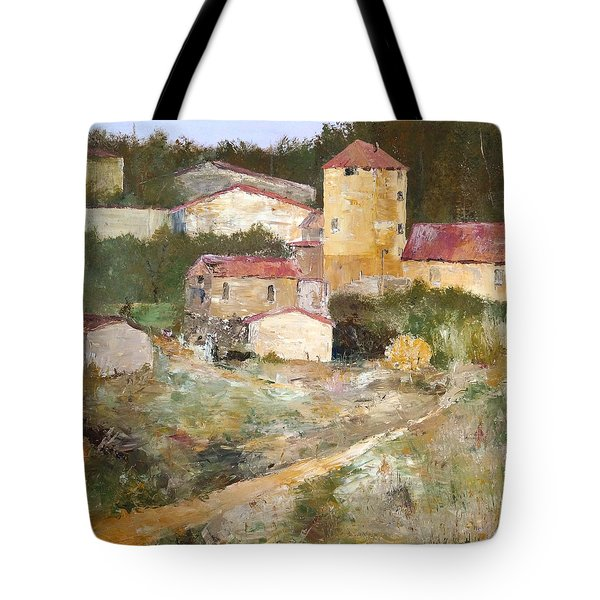 Tote Bag featuring the painting Mediterranean Farm by Alan Lakin