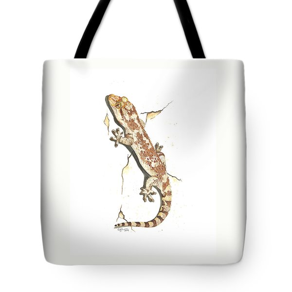 Mediterranean House Gecko Tote Bag by Cindy Hitchcock