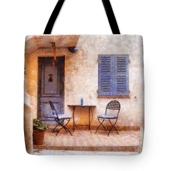 Mediterranean House Tote Bag by Pixel  Chimp