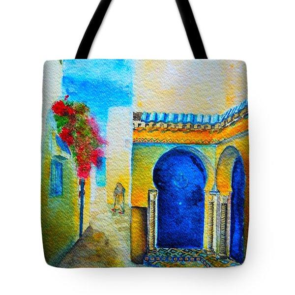 Tote Bag featuring the painting Mediterranean Medina by Ana Maria Edulescu