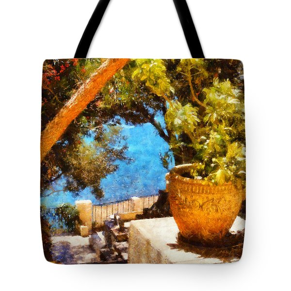 Mediterranean Steps Tote Bag by Pixel Chimp