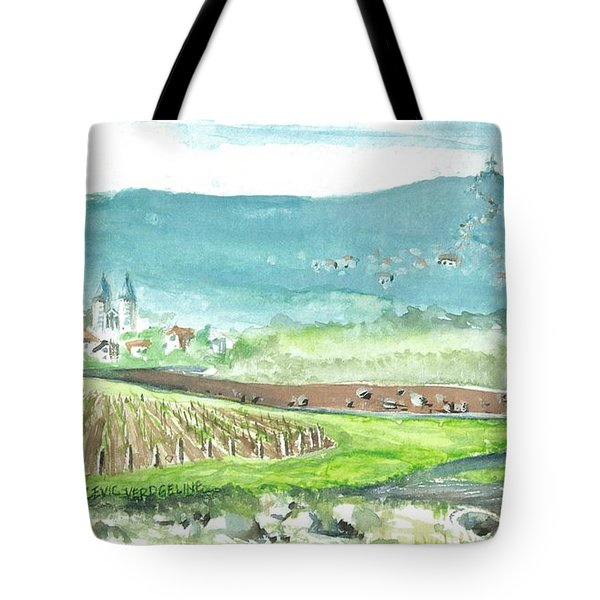 Tote Bag featuring the painting Medjugorje Fields by Christina Verdgeline
