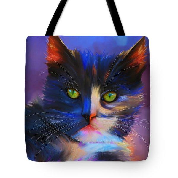 Meesha Colorful Cat Portrait Tote Bag