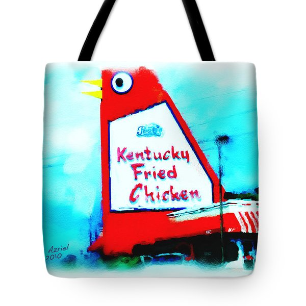 Tote Bag featuring the painting Meet Me At The Big Chicken by Ted Azriel