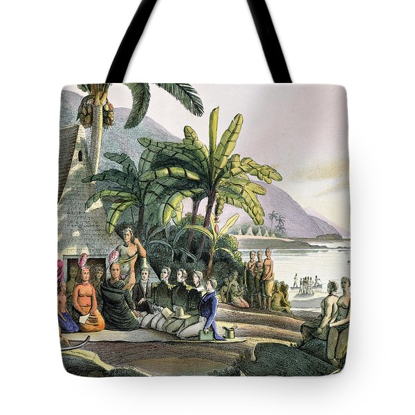 Meeting Between The Expedition Party Of Otto Von Kotzebue 1788-1846 And King Kamehameha I Tote Bag