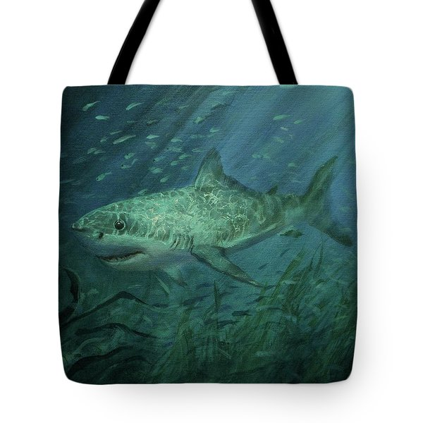 Megadolon Shark Tote Bag by Tom Shropshire