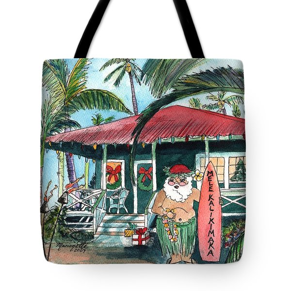 Mele Kalikimaka Hawaiian Santa Tote Bag