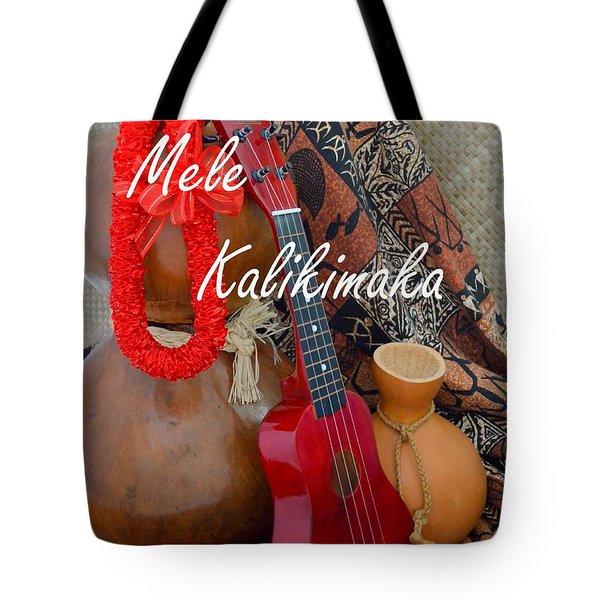 Mele Kalikimaka With Red Ribbon Lei Tote Bag
